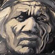 Indio Indian Black And White Oil Painting Art Print