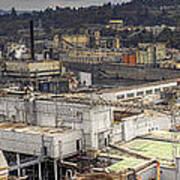 Industrial Area Along River Panorama Art Print