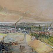 Industrial Landscape In The Blanzy Coal Field Art Print by Ignace Francois Bonhomme