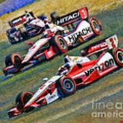 Indy Car's Penske Team Juan Montoya Helio Castroneves Will Power   Art Print