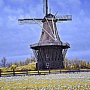 Infrared Photo Of The Dezwaan Dutch Windmill On Windmill Island In Holland Michigan Art Print