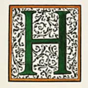 Initial 'h', C1600 Art Print