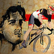 Ink Portrait Illustration Print Of Cycling Athlete Fabian Cancellara Art Print by Sassan Filsoof