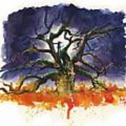 Inktober 19 Burning Tree Art Print