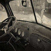 Inside An Old Junker Car Art Print