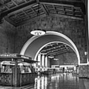 Inside Los Angeles Union Station In Black And White Art Print