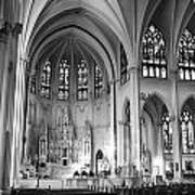 Inside The Cathedral Basilica Of The Immaculate Conception 1 Bw Art Print