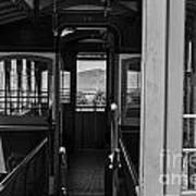 Inside Trolley 28 Black And White Art Print