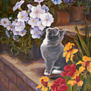 Inspecting The Blooms Art Print by Evie Cook