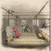 Interior Of Cotton Mill With Man Art Print