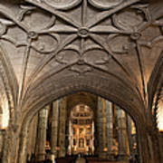 Interior Of Jeronimos Monastery Church In Lisbon Art Print