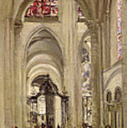 Interior Of The Cathedral Of St. Etienne, Sens Art Print