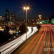 Interstate Traffic In Seattle Washington Art Print