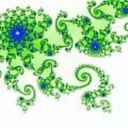 Intricate Green Blue Fractal Based On Julia Set Art Print