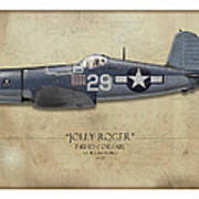 Ira Kepford F4u Corsair - Map Background Art Print