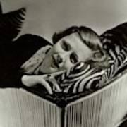 Irene Dunne Lying Down On A Zebra Print Pillow Art Print