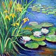 Irises And Lilies Art Print