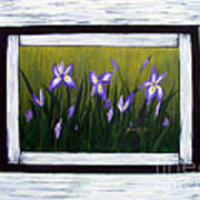 Irises And Old Boards - Weathered Wood Art Print