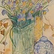 Irises With Chinese Pot Art Print