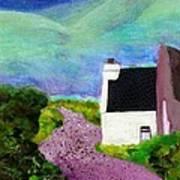 Irish Cottage With Cat Art Print
