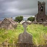 Irish Graveyard Cemetary Dark Clouds Art Print