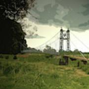 Iron Footbridge Near Doveridge, Elegant Suspension Bridge Art Print