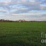 Great Friends Iron Horse Wheat Field And Silos Art Print