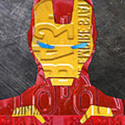 Iron Man Superhero Vintage Recycled License Plate Art Portrait Art Print