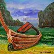 Island Canoe Art Print by Louise Burkhardt