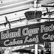 Island Cigar Factory Key West - Black And White Art Print
