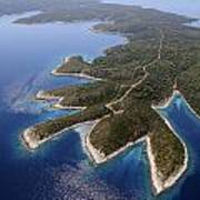 island Hvar from air Art Print