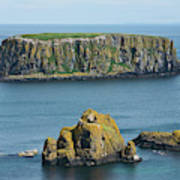 Island Off The Coast Near Ballintoy Art Print