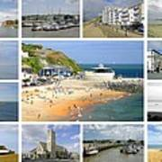 Isle Of Wight Collage - Plain Art Print