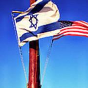 Israeli Flag And Us Flag Art Print