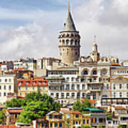 Istanbul Cityscape And Galata Tower Art Print