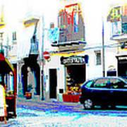Italian City Street Scene Digital Art Art Print