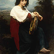 Italian Woman With A Tambourine Art Print by William Adolphe Bouguereau