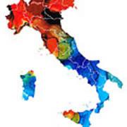 Italy - Italian Map By Sharon Cummings Art Print by Sharon Cummings
