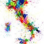 Italy Map Paint Splashes Art Print by Michael Tompsett
