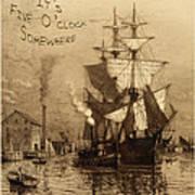 It's Five O'clock Somewhere Schooner Art Print by John Stephens