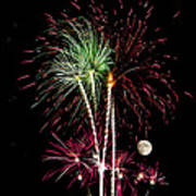 Its Raining Red Drops On The Red Flowers - Fireworks And Moon Art Print