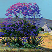 Jacaranda Holy Ghost Church In Kula Maui Hawaii Art Print