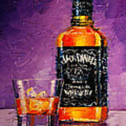 Still Life With Bottle And Glass Art Print