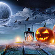 Jack O' Lanterns Glowing At Moonlight Art Print