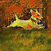 Jack Russell In Autumn Print by Jane Schnetlage