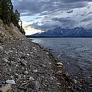 Jackson Lake Shore With Grand Tetons Art Print