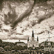 Jackson Square And St. Louis Cathedral In Black And White - New Orleans Louisiana Art Print