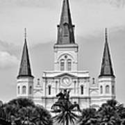 Jackson Square In Black And White Art Print