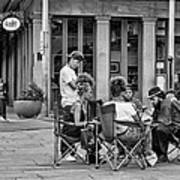 Jackson Square Reading 2 Bw Art Print