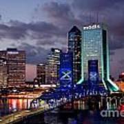 Jacksonville Skyline At Dusk Art Print
